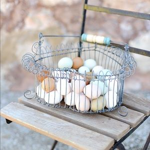 Antique French Wire Egg Basket • Haven Antiques